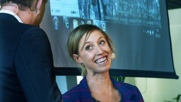 Lisa Norden pratar triathlon på Åhus Strand