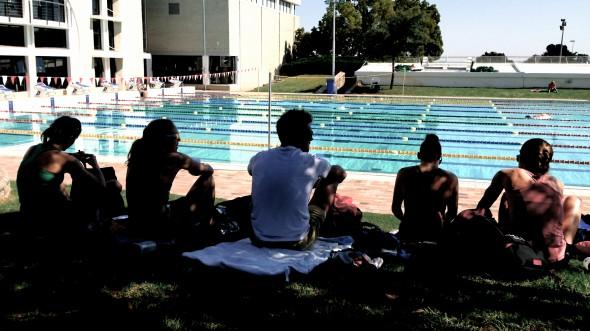 Samling innan simpasset på Stellebosch Academy of Sport