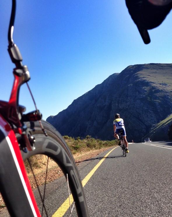 Going down Franschhoek pass (chasing Greg Roualt)